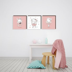 Trio de quadros Coelha + Elenfanta + Ursa bailarinas [BoxMadeira]