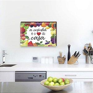 Quadro decorativo Frase A cozinha + Frutas [BoxMadeira]