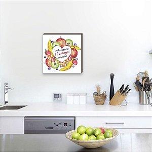 Quadro decorativo Frase + Frutas + Coração [BoxMadeira]