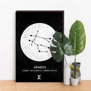 Quadro Decorativo Signos GÊMEOS preto [BoxMadeira]