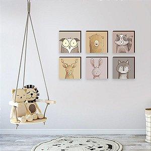 Sexteto de quadros infantil Bichos floresta olhinhos [BoxMadeira]