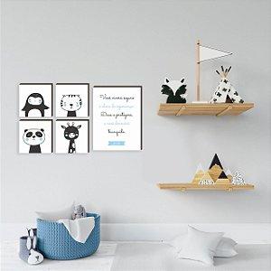 Kit de quadros Você viverá seguro + Bichos MENINO [box de madeira]