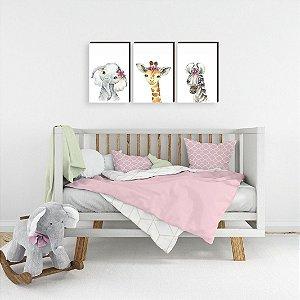 Trio de Quadros infantil Elefanta + Girafa + Zebra FLOR [BoxMadeira]