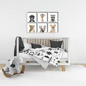 Sexteto de quadros infantil Bichos Baby Real [BoxMadeira]