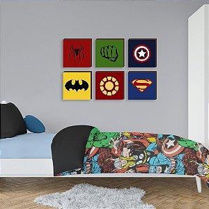 Sexteto de quadros Símbolos Super Heróis [BoxMadeira]