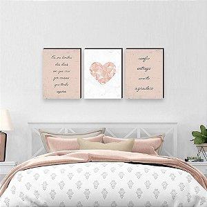 Trio de quadros Eu me lembro + Coração + Entrego Confio Aceito Agradeço [Box de madeira]