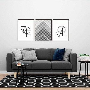 Trio de quadros Home + Linhas + Love [Box de madeira]