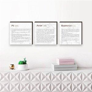 Trio de quadros Versículos Quadrado Rose Gold [BoxMadeira]