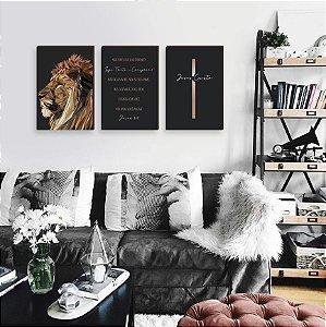 Trio de quadros Leão de Judá + Seja Forte + Cruz [BOX DE MADEIRA]