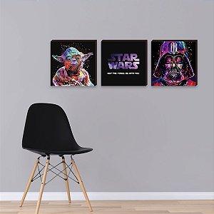 Trio de quadros Star Wars Aquarela [BoxMadeira]