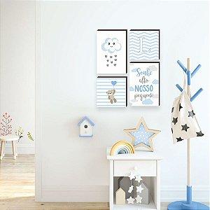 Quarteto de quadros infantil Nuvem + Sonhe alto nosso pequeno + urso [box de madeira]