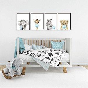 Quarteto de Quadros infantil Animais chiclete azul [BoxMadeira]