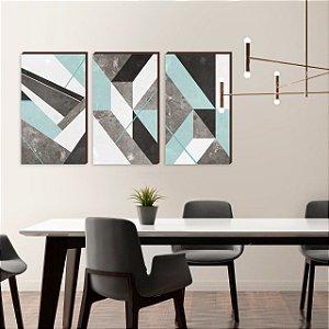 Trio de Quadros decorativos - Coleção Abstrato Verde Água [BoxMadeira]