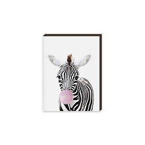 Quadro Animais Chiclete Realístico Zebra [BoxMadeira]