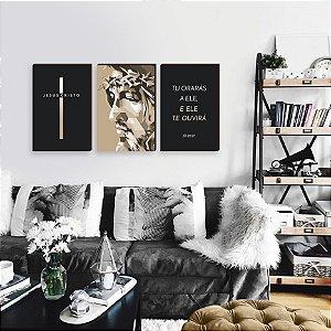 Trio de quadros Cruz + Cristo + Tu orarás [BOX DE MADEIRA]