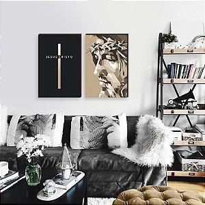 Dupla de quadros Cristo + Cruz [boxdemadeira]
