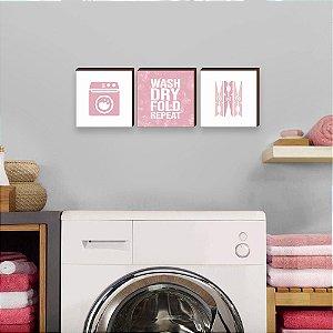 Trio de quadros Lavar, secar, dobrar, repetir ROSA em INGLÊS [BoxMadeira]