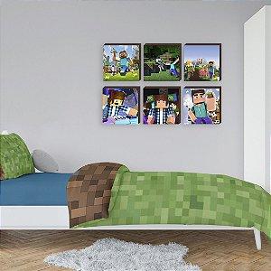 Sexteto de quadros Símbolos Minecraft Mod. 02  [BoxMadeira]