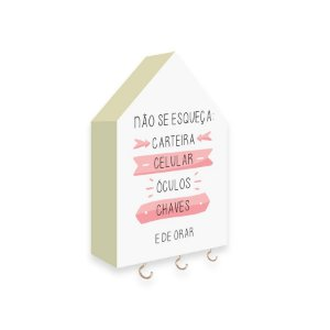 PORTA CHAVES CASINHA Não Se Esqueça Mod. 02 Rosa