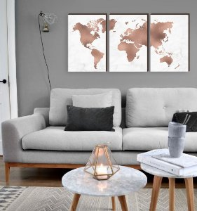 Trio de Quadros Mapa Mundi Rose Gold [BOX DE MADEIRA]