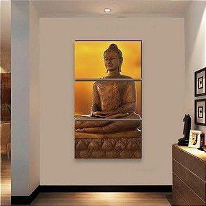 Trio de quadros Buda VERTICAL [BoxMadeira]