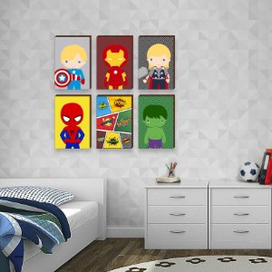 """Sexteto de Quadros Super Heróis Quadrinhos - Capitão América, Homem de Ferro, Thor, Homem Aranha, Hulk [BoxMadeira]"""""""