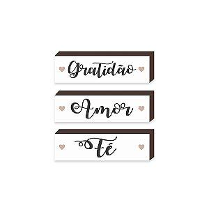 Trio caixinhas Gratidão, Amor, Fé Fundo Branco[BoxDeMadeira]