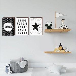 Trio de quadros infantil Alfabeto+Nome+Estrela [BoxMadeira]