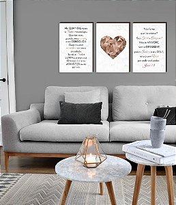Trio de quadros Coração Geométrico Rose Gold + Frases: Ah,quantas vezes o Senhor me protegeu / Não fui eu que lhe ordenei? [boxdemadeira]