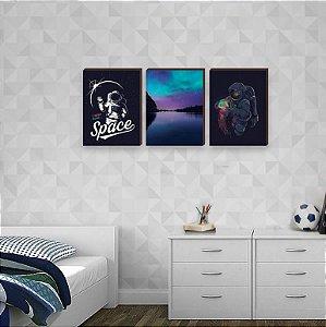 Trio de quadros infantil Astronauta [BoxMadeira]