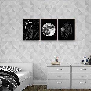 Trio de quadros Astronauta Preto [BoxMadeira]