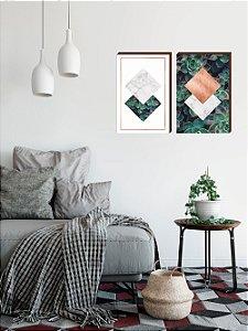 Dupla de quadros Geométricos Rosê Gold + Suculentas [boxdemadeira]