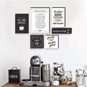 Kit de quadros Cantinho do café + Regras da cozinha Bege [Box de Madeira]