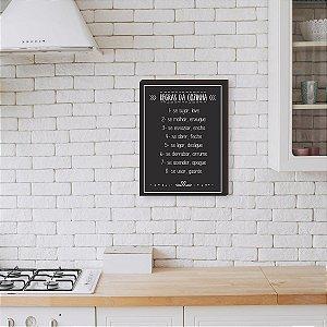 Quadro Decorativo Regras da Cozinha fundo Preto [BoxMadeira]