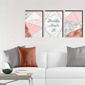 Trio de quadros Família, Fé e amor Cinza Abstrato- Geométrico [BOX DE MADEIRA]