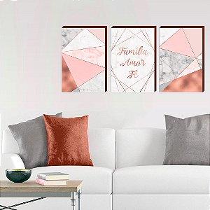 Trio de quadros Família, Fé e amor Rose Gold Abstrato- Geométrico[BOX DE MADEIRA]
