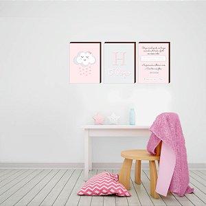 Trio de quadros infantil Nuvem+ Nome+ Viver os sonhos... [BoxMadeira]