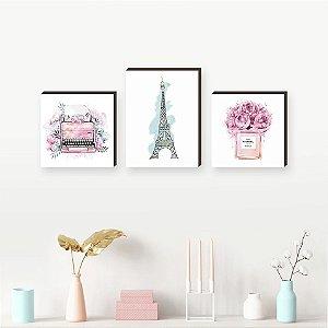 Trio de Quadros Paris Aquarela Torre Eiffel + Perfume + Máquina de Escrever [BoxMadeira]