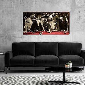 Quadro decorativo Mesa de Sinuca Vermelha - Sépia  [BoxMadeira]