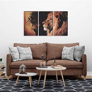 Trio de quadros Leão e Cristo [BOX DE MADEIRA]
