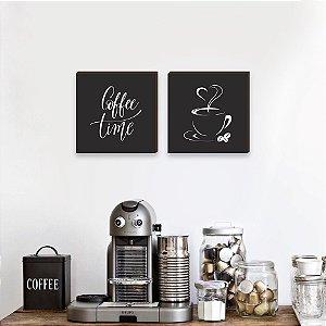 Dupla de quadros Coffee Time - Preto [Box de madeira]