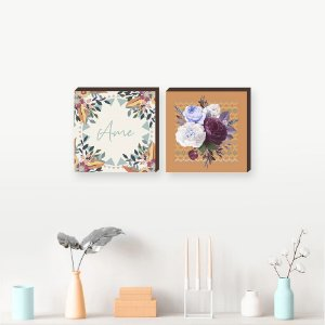 Dupla de quadros Ame+Flores [Box de madeira]