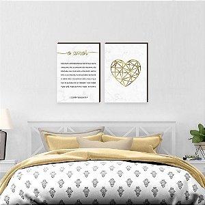 Dupla de quadros O amor + Coração Dourado [boxdemadeira]