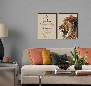 Dupla de quadros Leão de Judá vertical+ O Senhor é meu pastor BEGE [boxdemadeira]