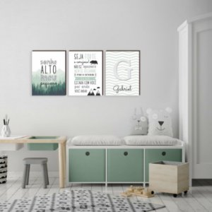 Trio de quadros infantil Sonhe Alto+ Seja Forte+ Floresta VERDE [BoxMadeira]