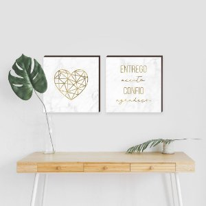 Dupla de quadros Coração+ Entrego,Aceito, Confio, Agradeço[Box de madeira]