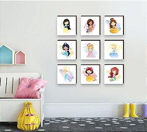 Quadros infantil Coleção Quadros Princesas da Disney [Box de Madeira]