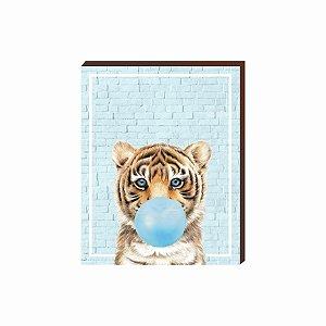 Quadro Animais Chiclete Realístico Tigre fundo e chiclete azul [BoxMadeira]