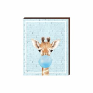 Quadro Animais Chiclete Realístico Girafa fundo e chiclete azul [BoxMadeira]