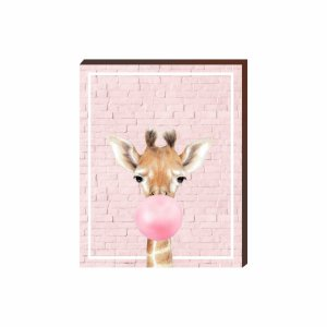 Quadro Animais Chiclete Realístico Girafa fundo e chiclete ROSA [BoxMadeira]